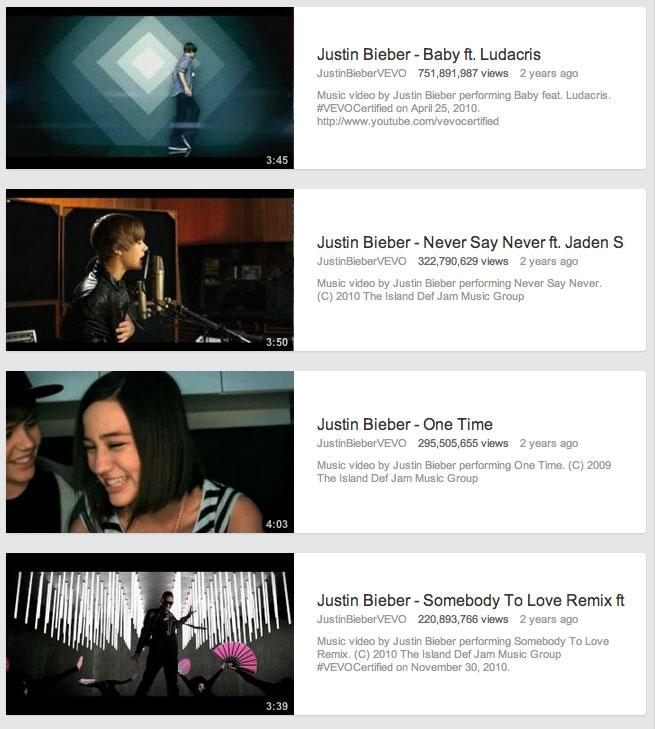 Justin Bieber Videos