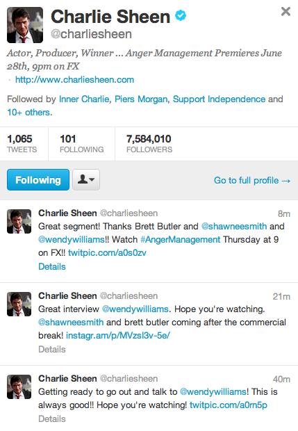 Charlie Sheen Tweets