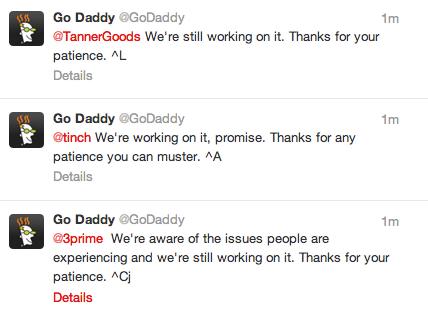 Godaddy down Twitter message
