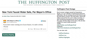 Huffington Post down : Sandy knocks out big players