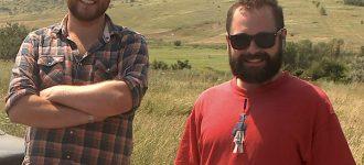 John Taylor (left) and Elliott Crawford (right) in Ukraine. Photo Bohdan Warchomij